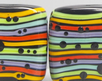 Zuma Stripey Big Pebbles --Handmade Lampwork Glass Bead