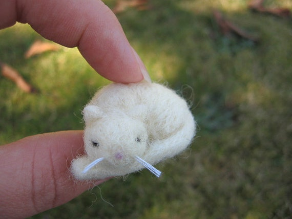 Needle Felted Sleeping White Cat Miniature Kitty