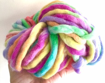 pure wool chunky yarn hand painted in rainbow colours