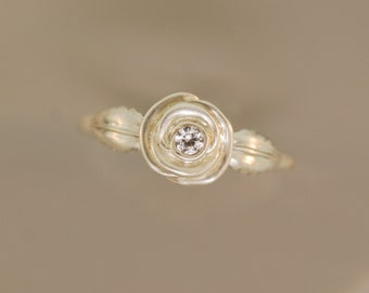 White Roses,engagement ring,leaf ring,sterling rose ring, white sapphire ring,rose ring,twig ring