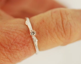 Twig Branch with Diamond and Rose Gold, alternative engagement ring, twig ring, diamond twig ring, rose gold twig ring