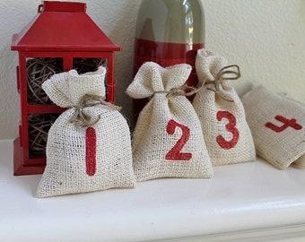 Winter Burlap Christmas Advent, fabric bags, Calendar. Count down December calendar. Christmas party wedding favors. Jute gift bags for kids