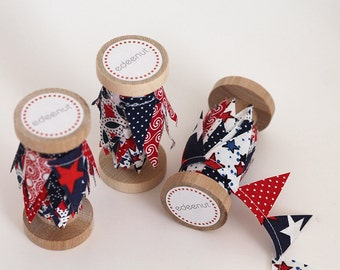 Patriotic red white blue fourth of July mini bunting spool, cake bunting, cake topper, party dessert decoration, stars and stripes polkadot