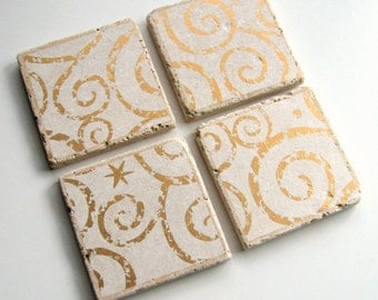 Tumbled Stone Earth Coasters - Gold Swirl Coasters - art papers, gold and white, swirls, holiday, tiles, home decor, natural, wedding gift