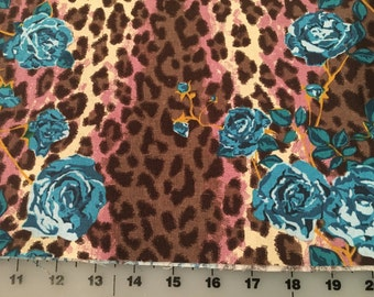 Anna Maria Horner Field Study Number 4 linen cotton blend blue rose animal print fabric by the yard
