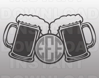 Beer Mugs SVG File,Monogram SVG,Beer SVG File,Cutting Template-Vector Clip Art for Commercial & Personal Use-Cricut,Silhouette,Cameo,Vinyl