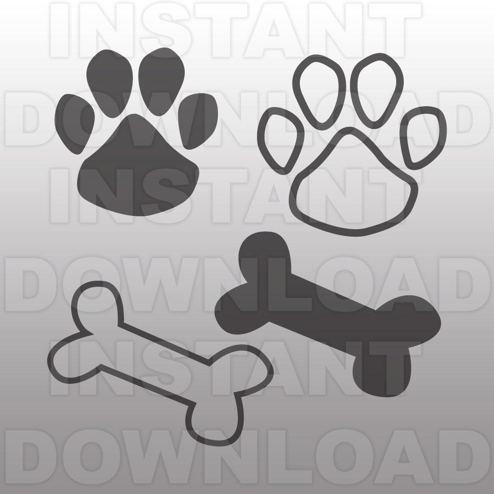 Paw Print SVG File-Dog Bone SVG-Dog Paw svg-Cutting
