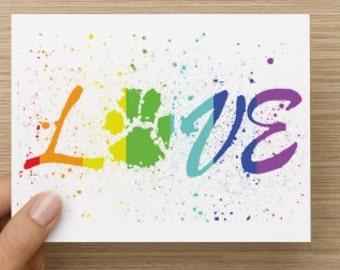 Love Rainbow Pawprint LBTGQ Recycled Folded Greeting Card