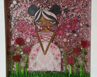 "12 x 12"" Original Mixed Media Epoxy Resin Art - Fairy Princess Rose Garden"