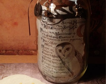"Gratitude Mason Jar ""Owl Shamanism"" Color Art Print 32 oz Smooth, Beautiful Collaboration of Art, Style & Charm OOAK by Carole Anzolletti"