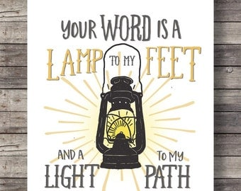 Your word is a light to my path | Psalm 119:105 | Hand lettered typography lantern | Printable wall art print INSTANT DOWNLOAD