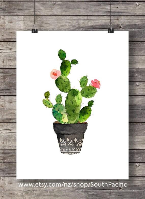Cacti Art Print Printable Art Watercolor Cactus Hand Painted