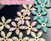 FG-EX-08001SA1- Nickel Free, Lead Free, Color epoxy, 5-leaf beads cap, trio of soft, 6 pcs