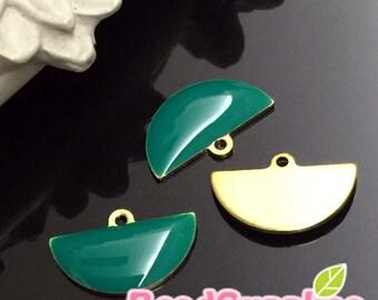CH-EX-08151TG- Raw Brass, Petite semi-circle tag, teal green, 6 pcs