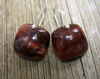 Tiger eye smooth square,  sterling silver  French  earwire, earrings
