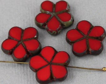 Red Czech glass table cut flower beads with picasso finish edge - 17mm - FB135