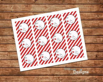 From Santa tags, red and white stripes - instant download