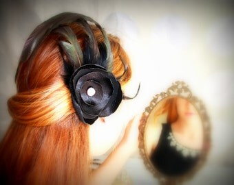 Sultry - Satin Flower and Feather Assemblage Bridal Hair Piece - Burlesque Inspired Avant Garde OOAK design