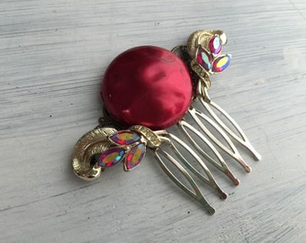 Mysterious - Red and Gold Vintage Jewel Comb, Bridal or Special Occasion