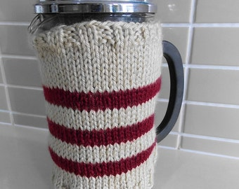 French press coffee cozy cover, coffee pot warmer, cafetiere cosy - hand knitted beige and wine stripes choose your colors