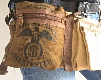 CASE IH Eagle Logo - Tan - Convertible Belt/Waist Bag Vintage seed sack W- Americana OOAK Canvas & Leather Bag Selina Vaughan Studios