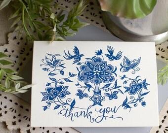 Chinese Indigo Thank You Notes - Indigo frame thank you cards - Navy blue note cards -