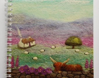 Notebook with Printed Cover Featuring Cottage and Highland Cow