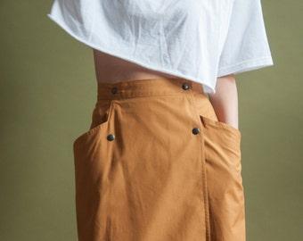GASTON JAUNET mustard wrap skirt / large pocket skirt / cotton pencil skirt / 42 / 10 / m / 1643t