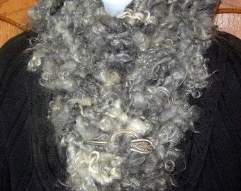 OOAK Original Design Gray Dawn Hand Knitted Scarf Handspun Mohair Wensleydale Locks SOFT