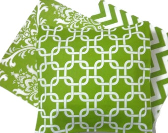 Lynne's Bargain Basement Section Yes (3) Coordinated Decorative Pillow Covers in Chartreuse and White Toss Throw Accent 16x16 inch  x