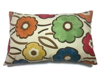 Decorative Pillow Cover Lumbar Royal Blue Orange Tangerine Gold Moss Green Crimson Red Handmade Floral Toss Throw Accent 12 x18 inch