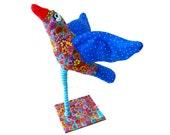 Whimsical bird Art, Bird sculpture, Bird decor, bird decoration,blue bird Polymer Clay, home design, Christmas gift , Bird statues