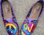 Peace Love and Paisleys Painted on Purple TOMS with BLING TOMS included