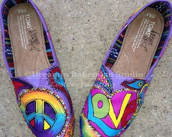 TOMS, Custom Painted Peace Love and Purple Boho Summer Shoes for Hippies, Amethyst Colored Flats with Rainbow Designed Paisley Floral, Wife
