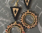 Long Beaded Door Knocker Earrings Black and Copper Bohemian Jewelry Large Long Earrings