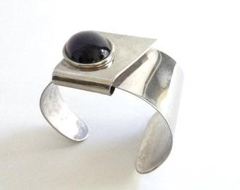 SUMMER SALE Handmade Modernist Sterling and Resin Bracelet