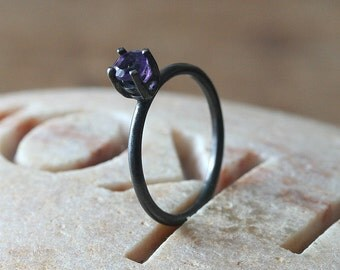 SALE 25% Off! Oxidized Amethyst or Your Stone Choice Ring 4 mm, Prong Set, Sterling Silver Faceted Gemstone, Size 2-15, February Birthstone