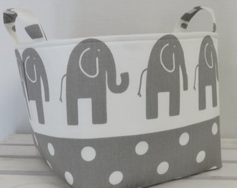 Fabric Organizer Bin Toy Storage Container Basket - Gray Ele on White Fabric Paired with White Dots on Gray Fabric  - 8 x 8 x 8