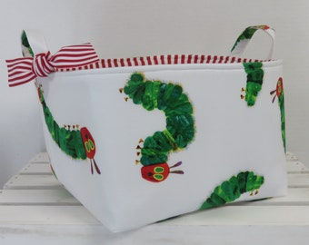 "Fabric Organizer Bin Toy Storage Container Basket - Made with Licensed Very Hungry Caterpillar Fabric - 10"" x 10"" x 7"" tall"