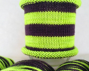 Black-light fluorescent yarn! Slime Aglow: Hand-dyed self-striping sock yarn, 80/20 SW merino/nylon