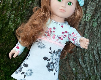 """18"""" girl doll clothes, 18 inch doll jersey dress, doll leggings, doll hat, american handmade romantic doll outfit, christmas birthday gift"""