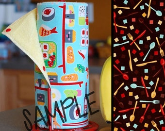 Unpaper Towels | Reusable Paper Towels |Utensils Brown(0433582)| Tree Saver Towel | Kitchen Towel | Snapping Cloth Paperless Towel & Wet Bag