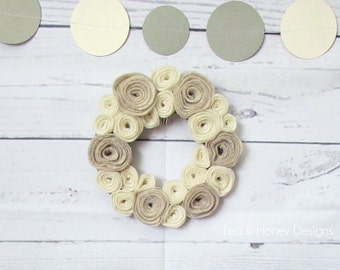 "Tiny Felt Wreath, Flower Mini Wreath, Wall Decor, 6"" Neutrals, Nursery Decor"