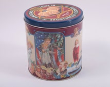 Vintage Christmas Cookie 4th of July Tin - Shortbread Cookies Canister - Container