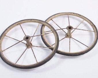 Vintage Stroller Baby Doll Wheels - Rusty Old Victorian Decor