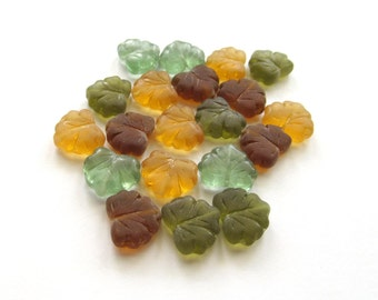Matte Autumn Mix Glass Maple Leaf Beads, 13mm - 10 pieces