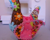 Chicken fabric stuffed folk art primitive home decor cute colorful