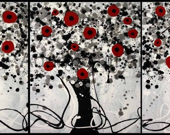 Abstract Tree Painting - flowers floral art on stretched canvas Red Black White acrylic paint nature messy liquid artwork triptych