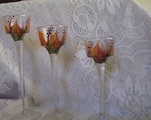 Glass Candle Holders, Berry and Orange, Tuscany.