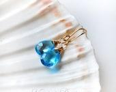 Swiss Blue Topaz Earrings, Dangle Earrings in Gold, Gemstone Earrings Blue Topaz, Wire Wrapped Topaz Earrings, Gift for Her